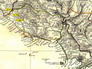 Map of ancient Latium, showing (highlighted) Rome, Bovillae and Lanuvium.
