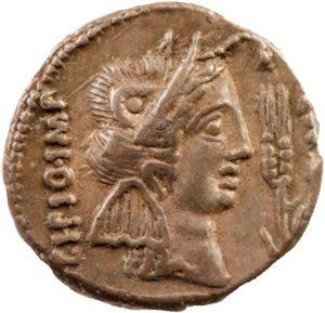 A denarius (46/7 BC) showing Metellus Scipio wearing elephant-skin headgear.