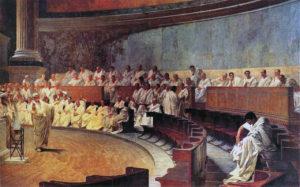 Cicero Denounces Catiline at the Senate. Painting by Cesare Maccari in 1889 (Palazzo Madama)