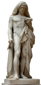 Statue of Cato the Younger in the Louvre Museum. He is about to kill himself while reading the Phaedo, a dialogue of Plato which details the death of Socrates. The statue was begun by Jean-Baptiste Roman (Paris, 1792–1835) using white Carrara marble. It was finished by François Rude (Dijon, 1784 – Paris, 1855).