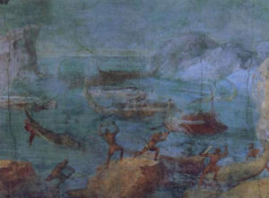 """The fourth panel of the so-called """"Odyssey Landscapes"""" wall painting from the Vatican Museum in Rome, 60–40 B.C.E."""