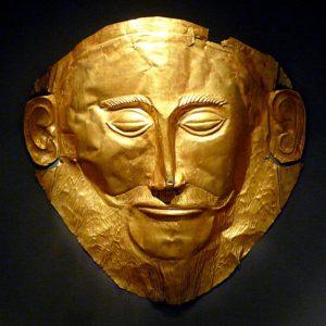 Gold Death Mask, 16th century BC, Shaft Grave V, Grave Circle A, Mycenae.