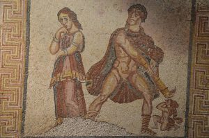Mosaic panel depicting the madness of Heracles, from the Villa Torre de Palma near Monforte, 3rd-4th century AD